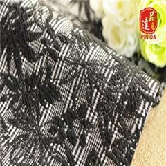 紹興品達 色織TR TC滌氨綸色織格子雙面提花針織布