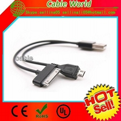 USB Type A male to 30pin and Micro B for iPhone/Samsung/HTC