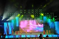 云南昆明P5LED显示屏出租、灯光音响租赁、LED电子屏出租、舞台桁架租赁