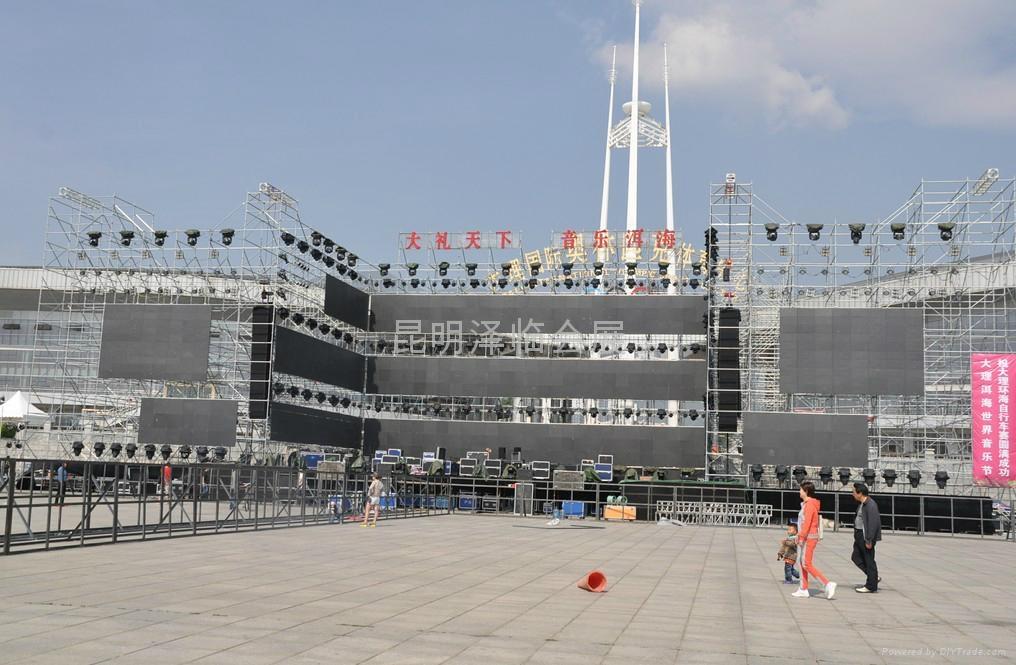 雲南昆明P5LED顯示屏出租、燈光音響租賃、LED電子屏出租、舞臺桁架租賃 5