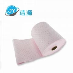 粉色輕量級2MM厚節省38CM寬45M實驗室酸性化學品萬用吸附卷