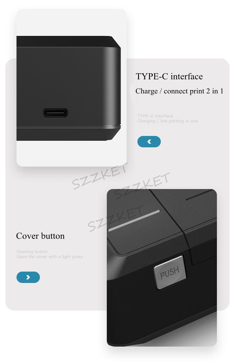 A4便攜熱轉印打印機藍牙連接內置電池家用隨時隨地打印 8