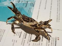 生态仿真镀金蟹(金属制)