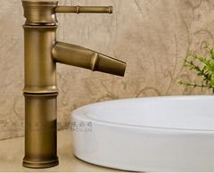 仿古銅色創意竹節水龍頭 主題衛浴 DIY水龍頭 面盆龍頭