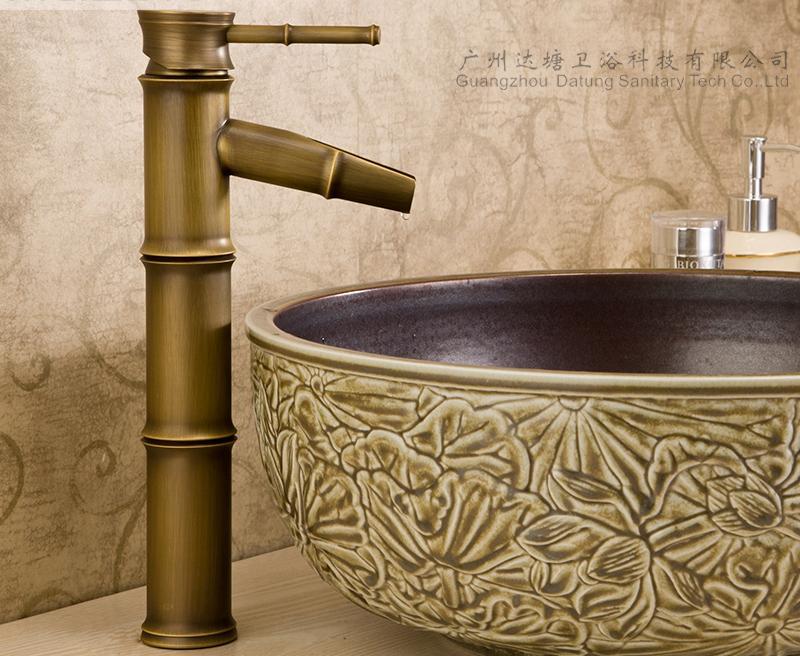 Bamboo artistic faucet bamboo joint brass tap art basin faucet  3