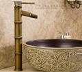 Bamboo artistic faucet bamboo joint brass tap art basin faucet  4