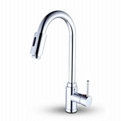 雙感應廚房抽拉+觸控+感應水龍頭全銅廚房菜盆水槽多功能水龍頭