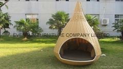 Rattan patio hanging bed