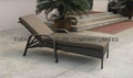 Patio rattan chaise lounge chair