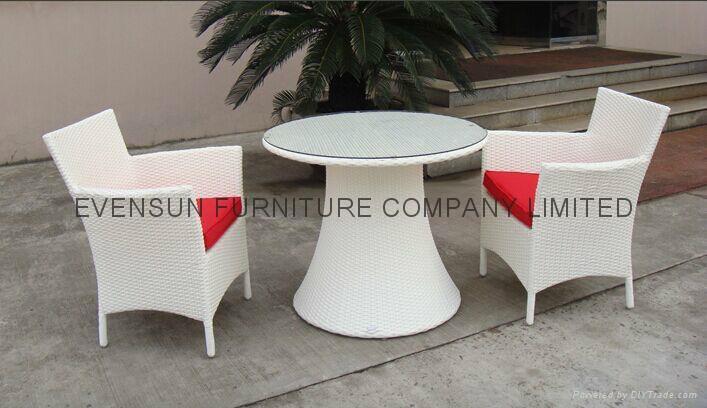 White Luxury Rattan Dining Set 1