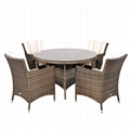 4pcs single chair with round table