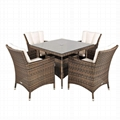 4pcs single chair with square table