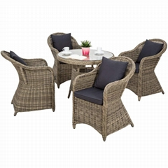 High quality weatherproof poly rattan wicker garden dining set
