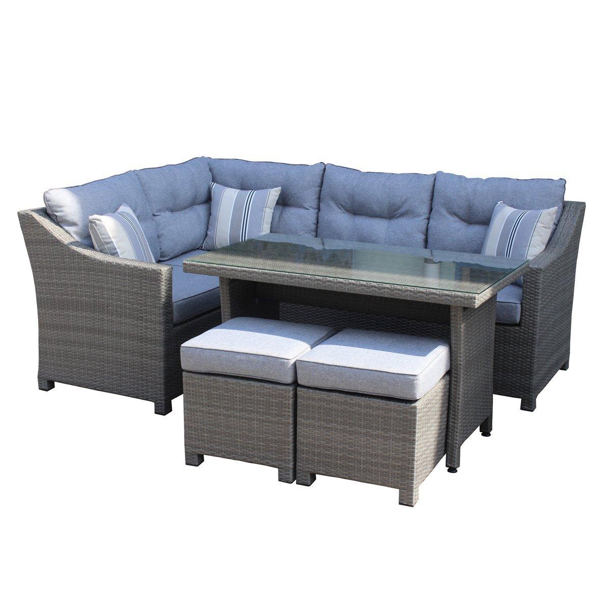 5pcs corner sofa set +  2 stools  1