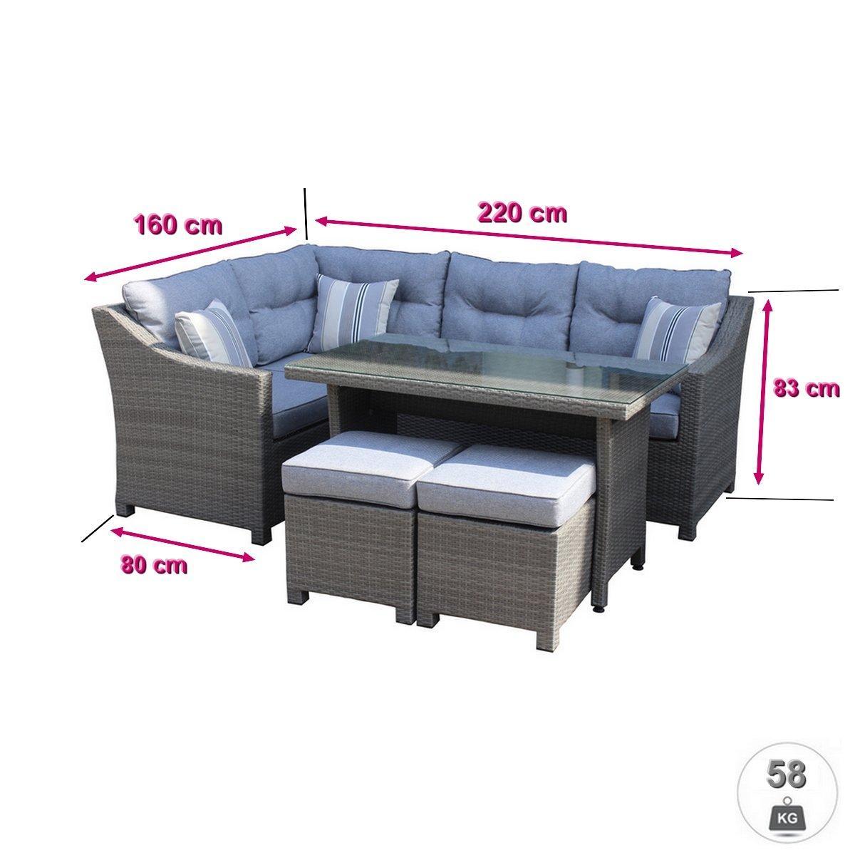5pcs corner sofa set +  2 stools  3