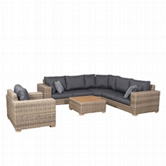 L shape round rattan sofa with one single sofa with one table  (Hot Product - 1*)