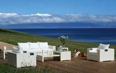 Rattan furniture garden Lounge Sofa + Sessel + Tisch