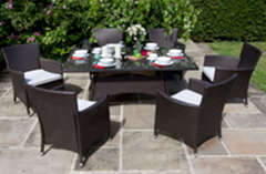 Outdoor furniture rattan chair six-piece leisure balcony table and chair garden
