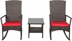 Classic Outdoor Furniture PE Rattan Wicker Garden Patio Coffee Set with Table an