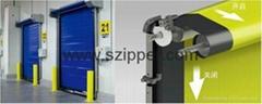 High speed door zipper