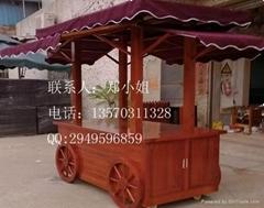 广场促销木制售货车