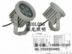 9W圓形投射燈 LED綠光插地燈