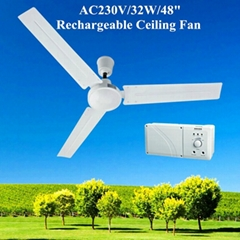 48'' Rechargeable Ceiling Fan with 12V/7AH Battery