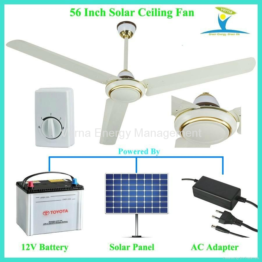 56'' 30W DC12V Solar Powered Ceiling Fan with 10 Years Life BLDC motor ...