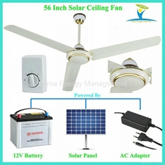 56'' 30W DC12V Solar Powered Ceiling Fan with 10 Years Life BLDC motor