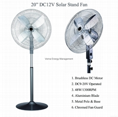 "Powerful DC12V input solar dc ceiling fan 20"" Aluminium blade"