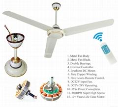 "2 Years Warranty Solar 12V DC Ceiling Fan 56"" 380RPM 36W Powered By Solar System"