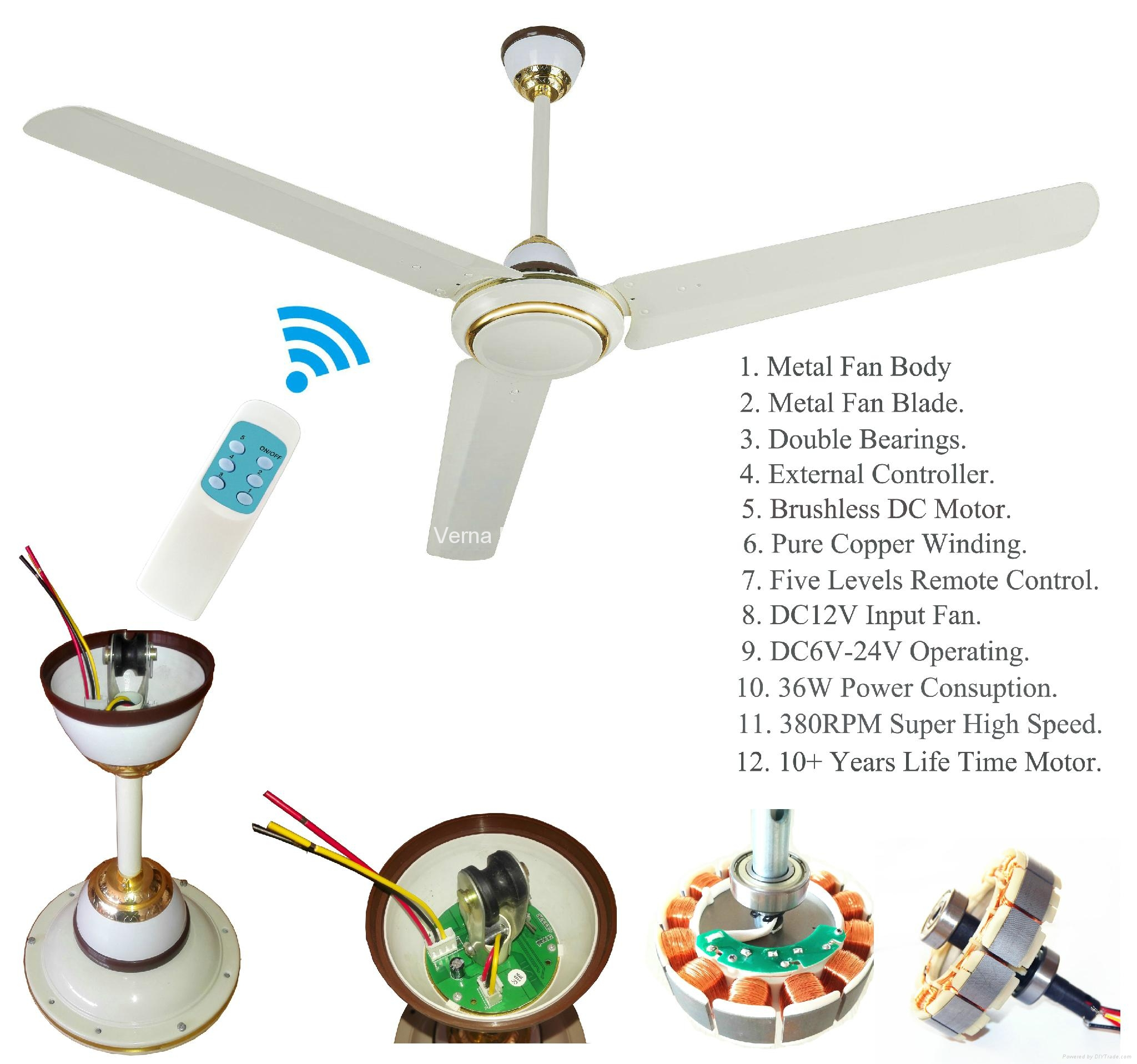 56 36W DC12V Solar Powered Ceiling Fan with 10 Years Life BLDC