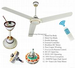 """Super High Speed Solar 12V DC Ceiling Fan 56"""" 380RPM 36W"""