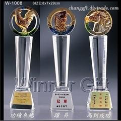 水晶琉璃奖座-W1008