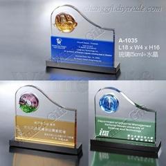 水晶琉璃獎牌-A1035