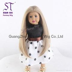 美國娃娃淺棕色長直發假髮