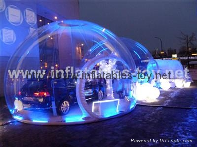 clear inflatable snow globe with LED lights for car shelter advertising