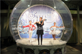Taking photos inflatable snow globe with backdrop for human show
