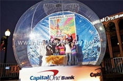 Taking photos inflatable snow globe with decoration backdrop