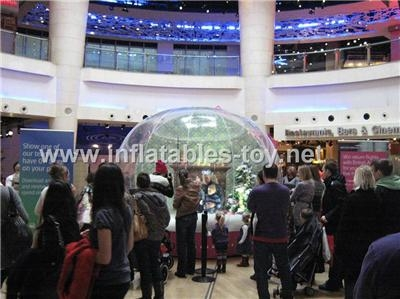 Human snow globe for promotional