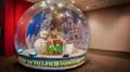 human snow globe with backdrop