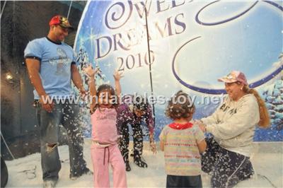 take photos snow globe with backdrop
