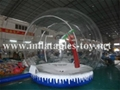 Human Snow Globe with Artifical Snow for