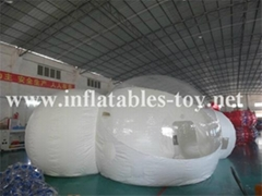 2 Clear Domes Inflatable Bubble Tent with one Tunnel
