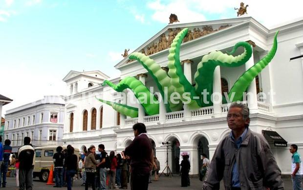 Giant Artist Inflatable Tentacles on the Building for Advertising 1