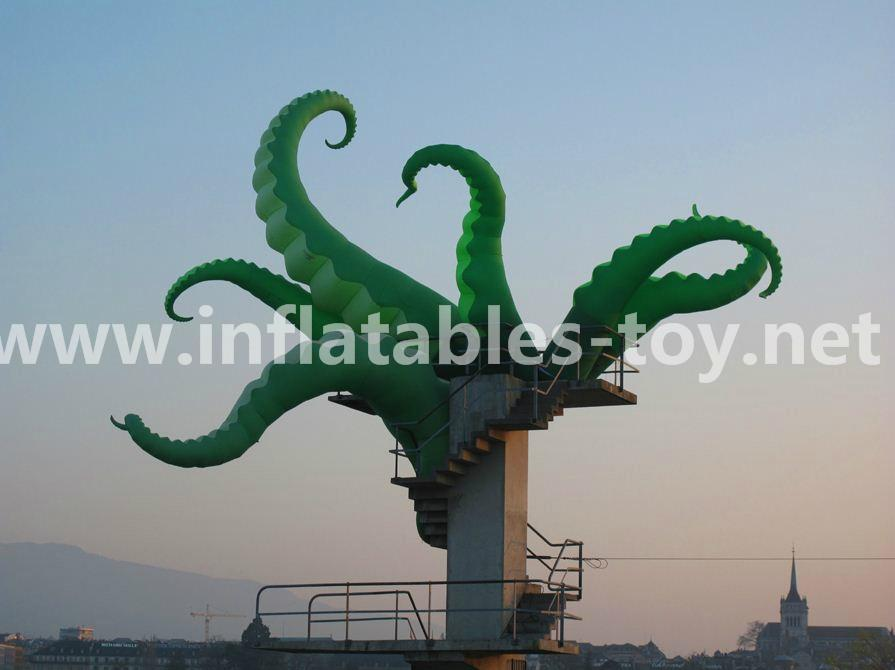 Giant Artist Inflatable Tentacles on the Building for Advertising 13