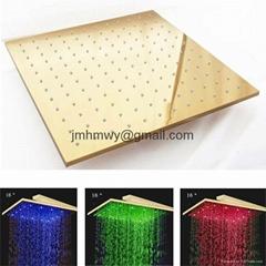 16寸镀金花洒 LED花洒 LED顶喷花洒304不锈钢花洒