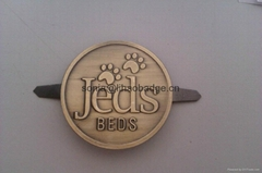 Brass embossed dog tag, dog bed tag, metal embossed badge