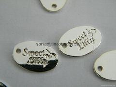金属标签,黄铜吊坠,银标签,珠宝标签、椭圆形压花标记