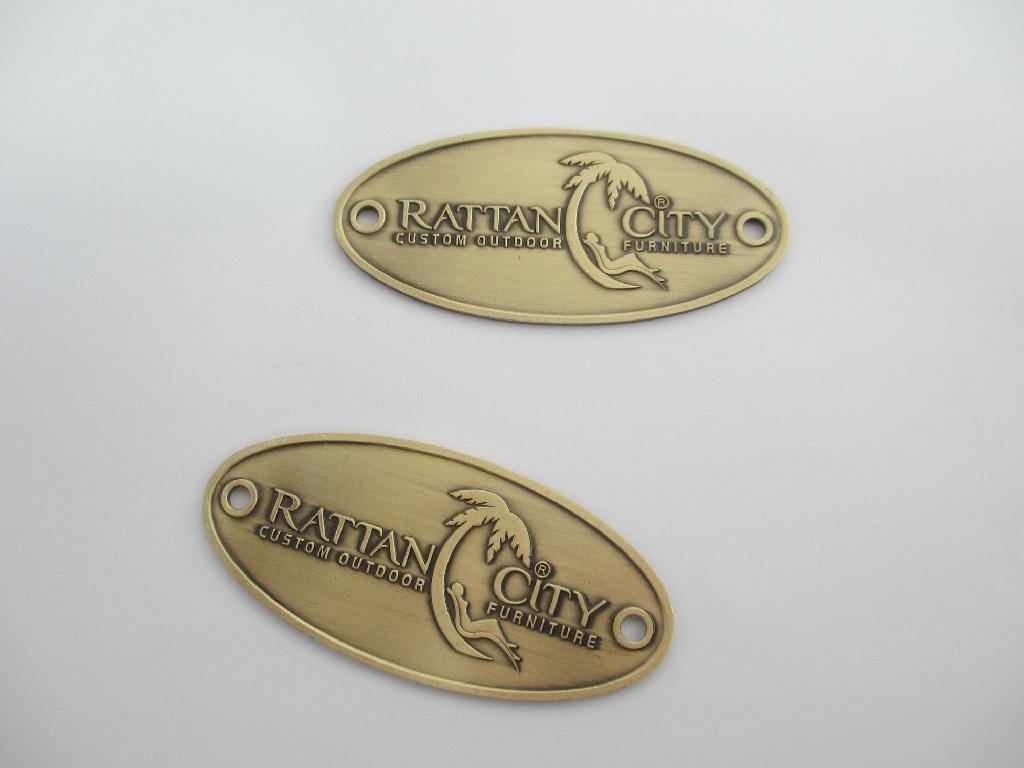 Brass Embossed Name Plate Metal Furniture Logo Metal Sign Vintage Metal Embos Lh0469